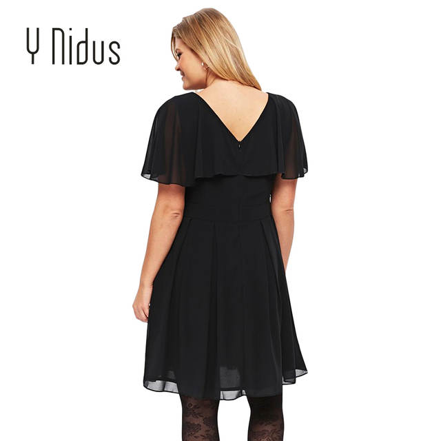 US $33.59 16% OFF Black Plus Size Floaty Skater Dress V Neck Dress Fashion  Summer Dress-in Dresses from Women\'s Clothing on Aliexpress.com   Alibaba  ...
