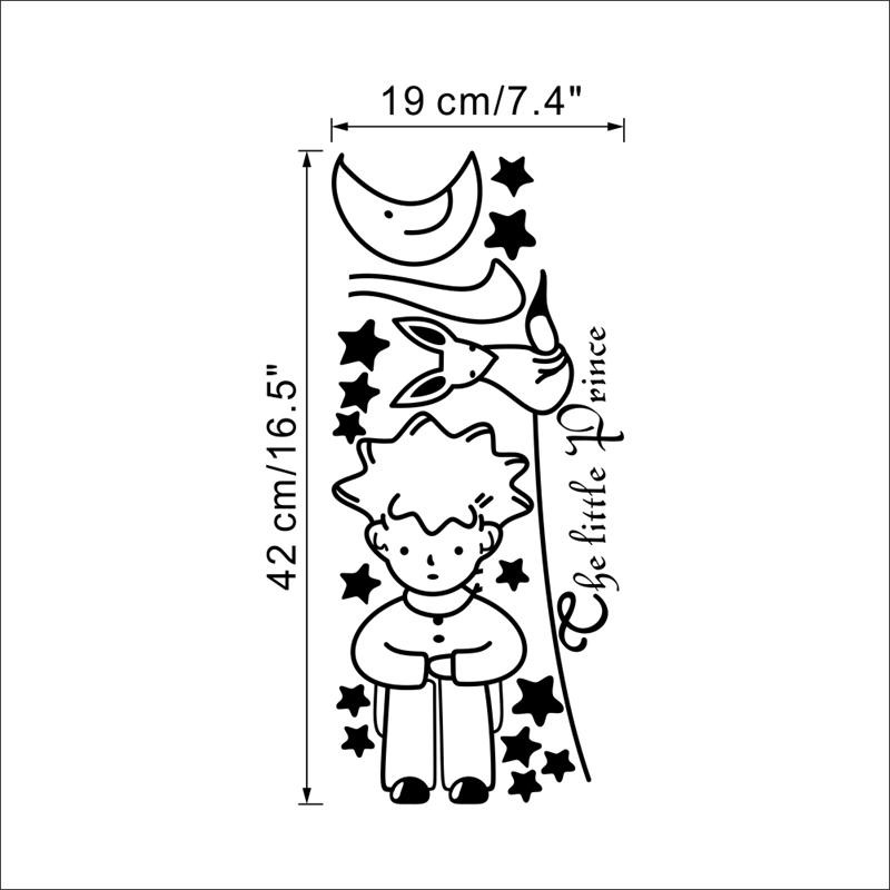 HTB108UDMpXXXXaaXXXXq6xXFXXXl - popular book fairy tale the Little Prince With Fox Moon Star wall sticker for kids room