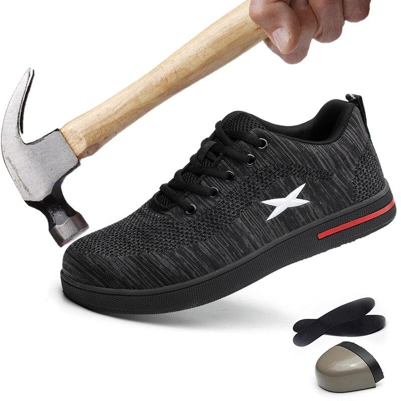Hommes travail chaussures acier orteil sécurité femmes chaussures exposition respirant mâle tissé Anti-fracassant casquettes Anti-piercing Fiber grande taille 46