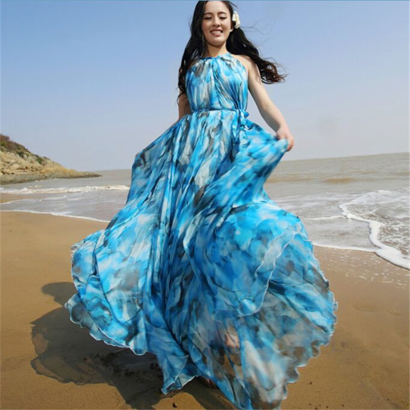 613a8d479db 2016 Fashion Maternity clothes Boho Dress Printed Halter Style Sleeveless  Maxi Dress Summer Dress Plus Size Women Beach Dress-in Dresses from Mother    Kids ...
