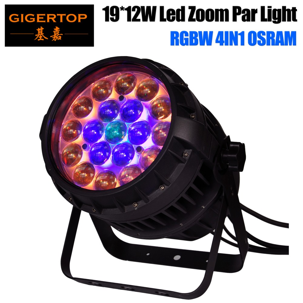 TIPTOP TP-P83 New <font><b>Os</b></font>-ram 19x12W Zoom Watrproof RGBW Led Par Light 3 Zoom <font><b>Motor</b></font> Silent Movement No Noise IP65 6/10/18 DMX channel image