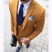 2018 Latest Coat Pant Designs Yellow Double Breasted Men Suit Terno Slim Fit 3 Piece Tuxedo Custom Blazer smoking Masculino