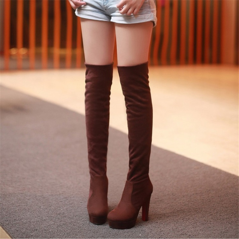 0992914d665d New Red Bottom Faux Suede Womens Thigh High Boots Platform Chunky Thick  Heels Sexy Fashion Over The Knee Boots Shoes-in Over-the-Knee Boots from Shoes  on ...