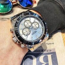 Megir高級ブランドビジネスクォーツ男性腕時計フルスチールクロノグラフ防水軍事時計男性レロジオのmasculino