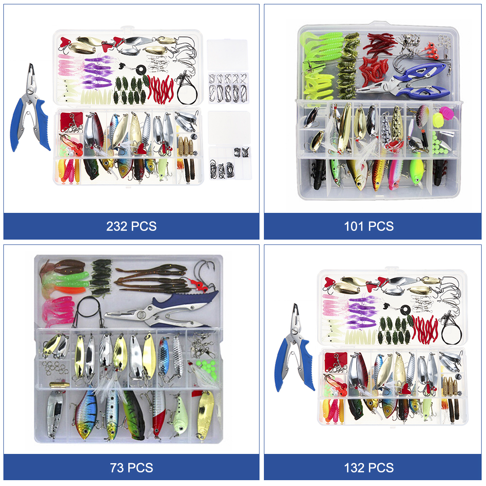 Image 2 - 73/101/132/232Pcs Fishing Lures Set Mixed Minnow Piler Spoon Hooks Fish Lure Kit In Box Isca Artificial Bait Fishing Gear Pescalure kitfishing lure setfishing lure -