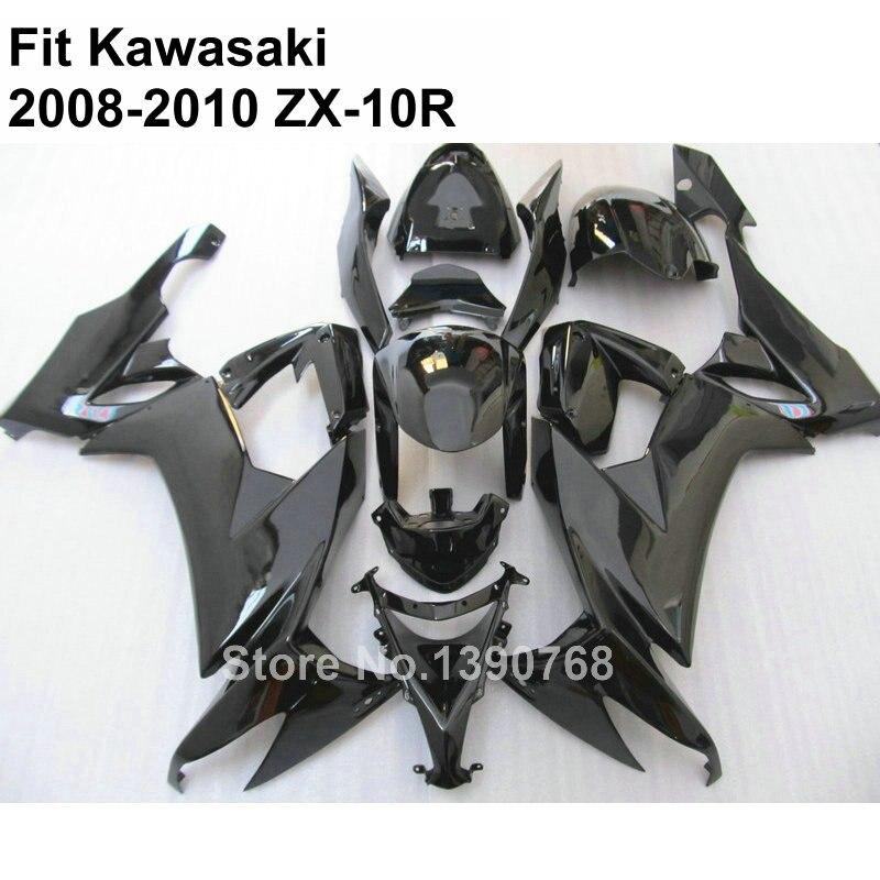High quality ABS fairing for Kawasaki Ninja ZX10R 2008 2009 2010 black fairings kit ZX-10R 08 09 10 TV65 high grade for kawasaki zx12r fairings 2000 ninja zx12 fairing 2001 zx 12r 00 01 green flame in glossy black sm17