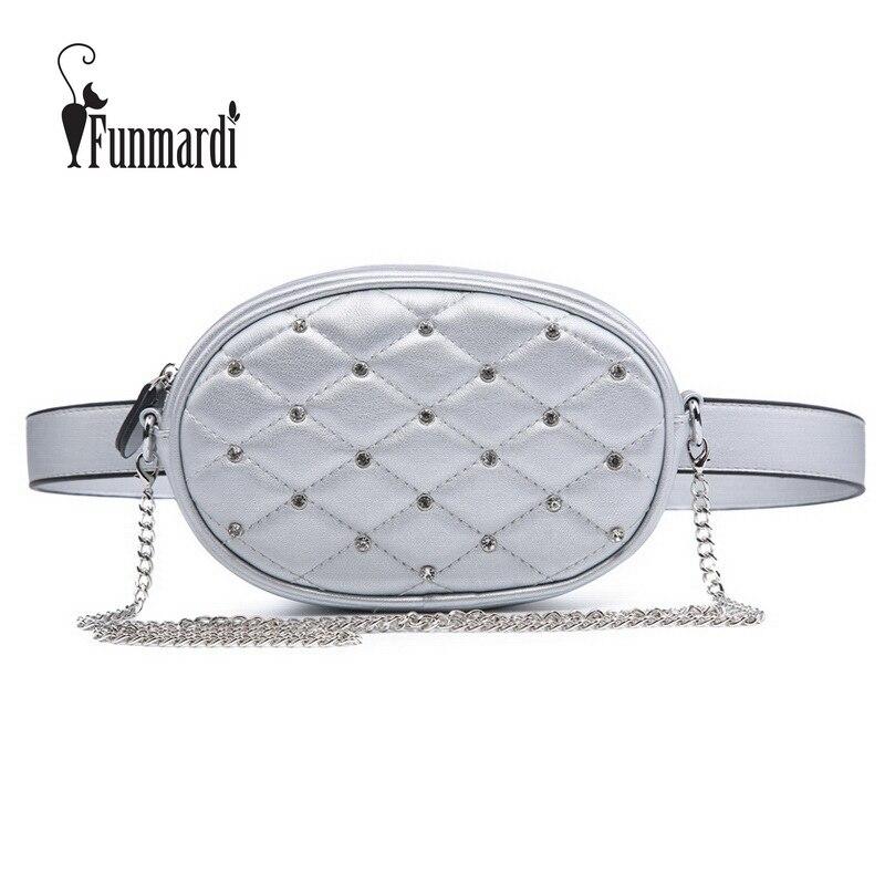 FUNMARDI Diamond Design Waist Packs Silver Quilted PU Leather Shoulder Bags Velvet Black Waist Bag Fashion Women Bag WLHB1741 black pleated design drawstring waist skorts