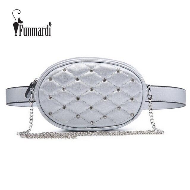 FUNMARDI Diamond Design Waist Packs Silver Quilted PU Leather Shoulder Bags Velvet Black Waist Bag Fashion Women Bag WLHB1741