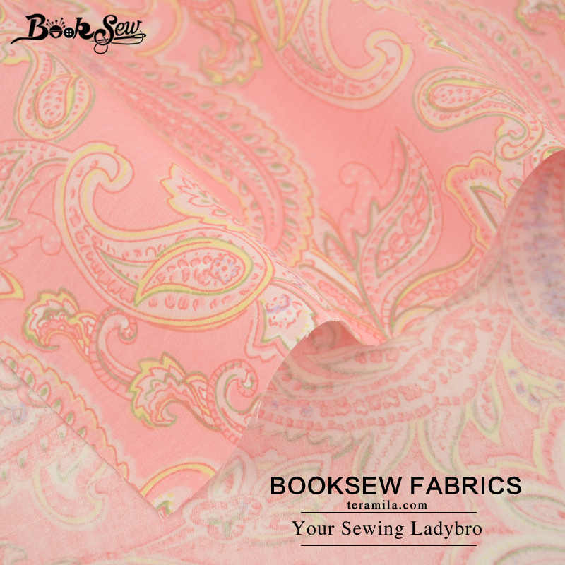 Booksew Pink Cotton Twill Fabric Flower Pattern Quilting Cloth For Bedding Baby Patchwork Scrapbooking Curtain Home Textile