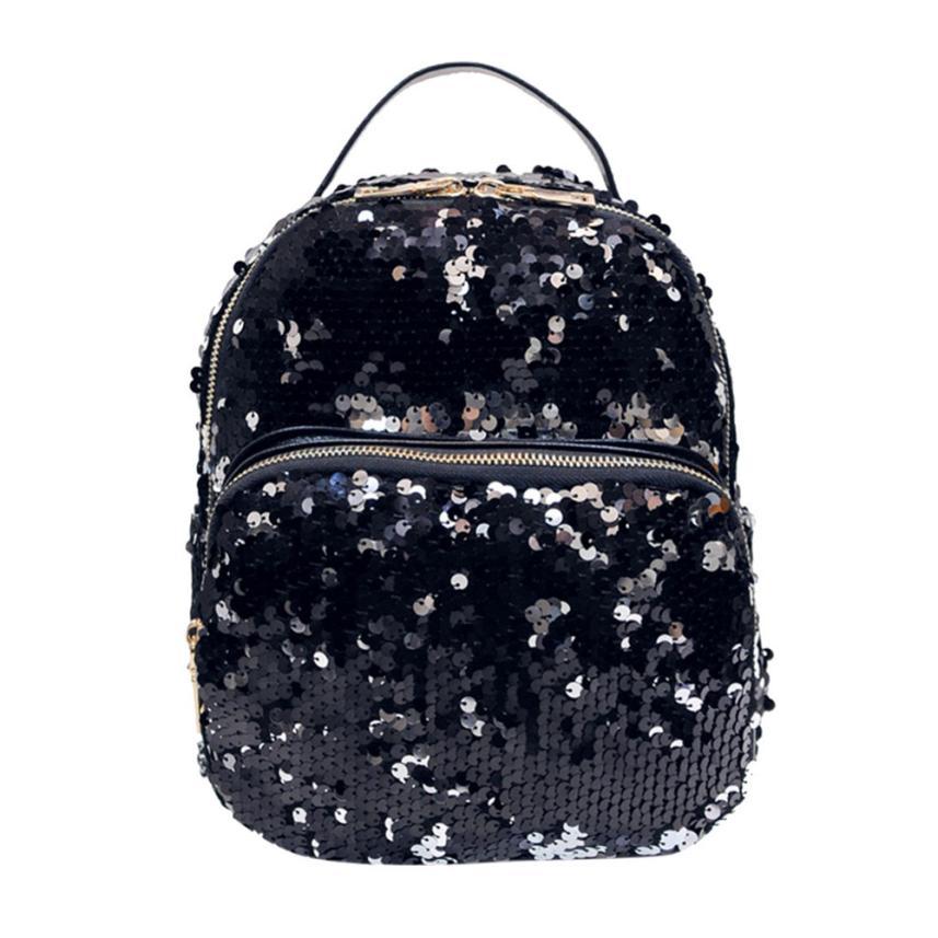 MOLAVE Backpack women backpack Sequins backpacks female pu leather Women Bag Sequins bags Girls Small Travel Backpacks Jan5
