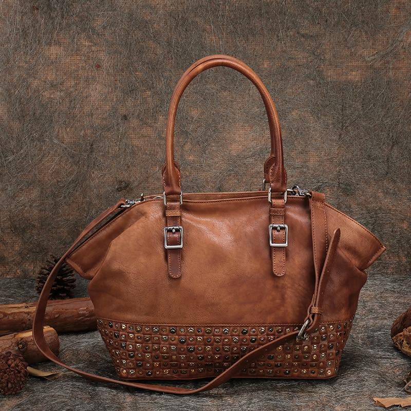 Retro női kézitáskák Eredeti valódi bőr alkalmi női táskák Tote szegecs tehén bőr Messenger táskák váll női táska