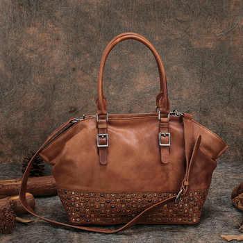 Retro Women Handbags Original Genuine Leather Casual Women Bags Tote Rivet Cow Leather Messenger Bags Shoulder Women Bag - Category 🛒 All Category