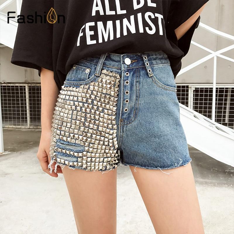 Europe Blue Black Crimping Denim Rivets   Shorts   for Women 2019 Summer Jeans Trendy Slim Casual Womens High Waist   Shorts   Boyfriend