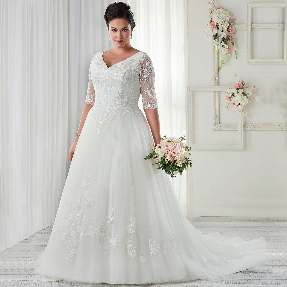Vintage White/Ivory Tulle Wedding Dresses Plus Size V Neck Beaded ...