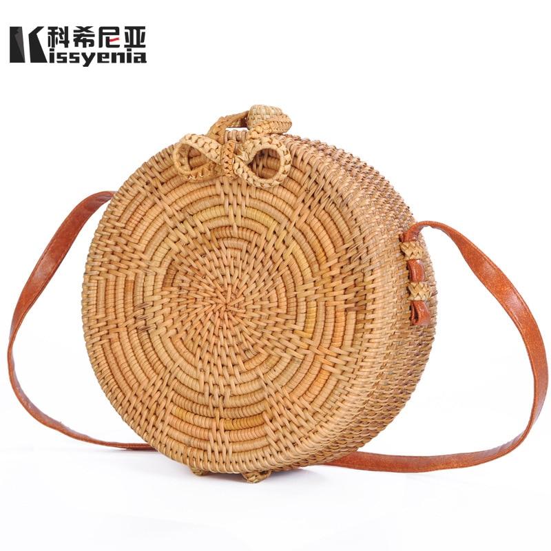 Kissyenia 100% Handmade Bali Island Beach Rattan Bag Bow Buckle Wind Bohemia Women Summer Rattan Bag Summer Bag for Women KS1258 все цены