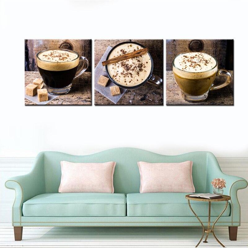 لوحات جدارية بنمط بني على شكل كوب قهوة لوحات جدارية فنية مطبوعة على قماش الغذاء صورة