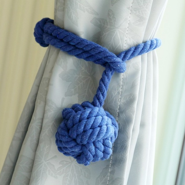 2pcs Set Cute Curtains Tied Rope Single Ball White Blue Yellow Disaplay Home Decoration Accessories