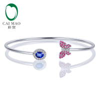 Caimao Jewelry 0.45ctw Oval Natural Sapphire & 0.21ct Pink Sapphires 0.01ct Pave Diamond 18K White Gold Gemstone Bracelet