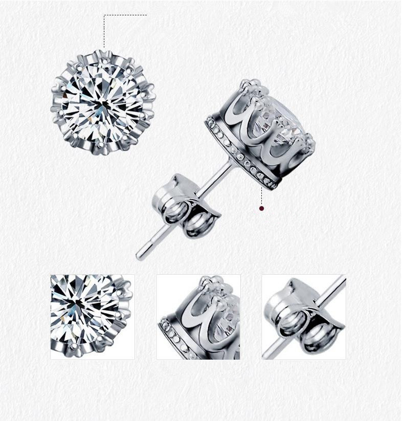 100 925 sterling silver fashion shiny crystal crown ladies stud earrings jewelry women Anti allergy birthday gift drop shipping in Stud Earrings from Jewelry Accessories