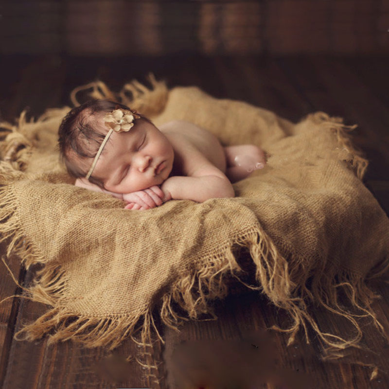 Vintage Baby Photography Blankets Newborn Photo Props Linen Basket Stuffer Baby Studio Photo Backdrop Infant Photography Props