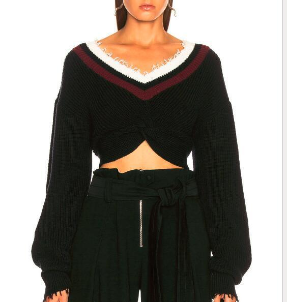 Nouveau 2018 nouveau automne col en V bord de cheveux lanterne à manches longues frappé la couleur noeud femmes court récolte chandail tricots de style décontracté
