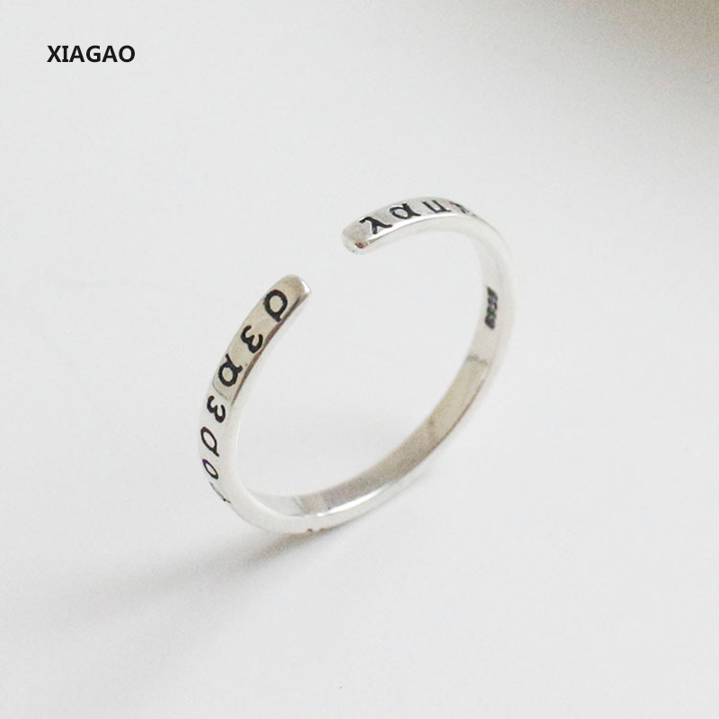 XIAGAO 925 Sterling Silver Open Ring Greek Classical Alphabet Vintage Retro Style Prevent Allergy Fashion Jewelry CNR008