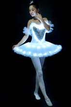 Girls Ballet Tutu Dress Lighting Dancing Suit Luminous Dances Fluorescent Adult Swan Lake Performance Costumes D-0320