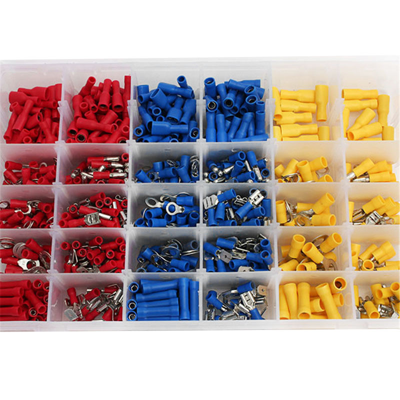 720Pcs Insulated Cold-pressed Wire Cable Terminals Connector Spade Kit rnb3 5 10 circular naked terminal type to cold pressed terminals cable connector wire connector 1000pcs pack