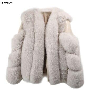 fa80156a750 OFTBUY 2019 зимняя куртка женская парка с натуральным лисьим мехом пальто  из натуральной овчины Натуральная кожа