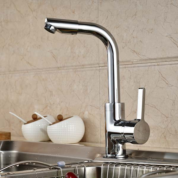 Chrome Brass Single Handle Hole Vessel Sink Mixer Tap Kitchen Faucet Deck Mounted Hot and Cold