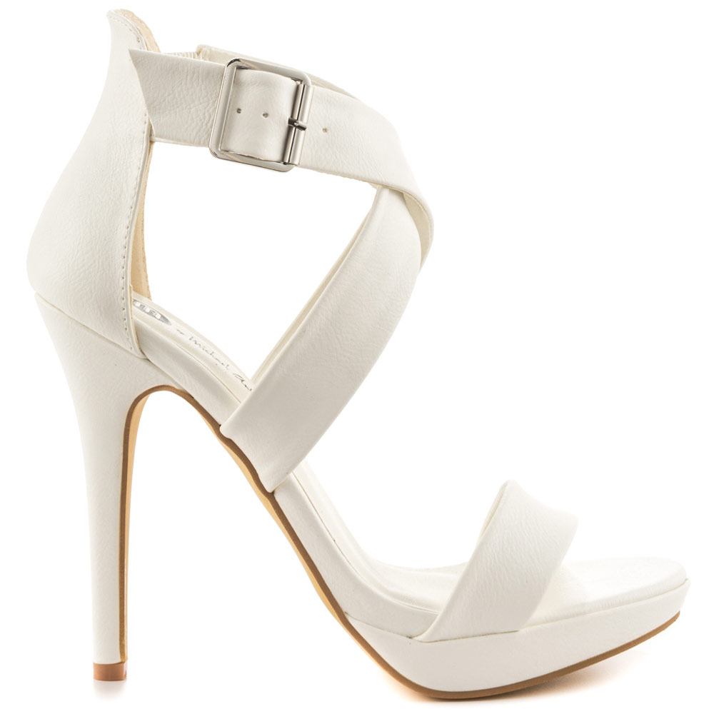 White Stiletto Heel Women Sandals High Heels Open Toe Synthetic Upper With Criss Crossing Ankle Strap Platform Shoes Women цена 2017