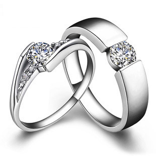 romantic solid sterling silver lovers ring synthetic diamonds couple rings forever love promise engagement ring pairs - Cheap Wedding Rings For Him And Her