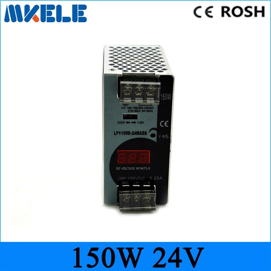 150 W 24 V 6.25A Mini taille Rail Din Sortie Unique de Commutation d'alimentation avec voltmètre tension affichage montior 100-240 V d'entrée