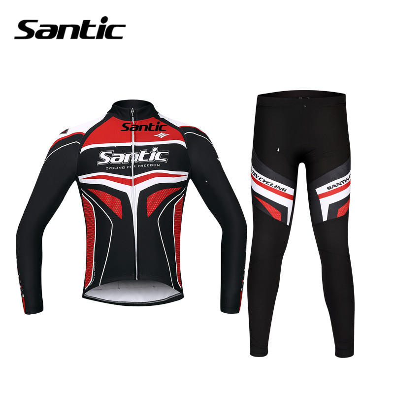 Santic Autumn Men Cycling Long Jersey Set Gel Padded Road Mountain Bike Clothing Pro Team Downhill Mtb Uniform Cycling Suits santic cycling men s downhill ridet shirt long jersey long sleeve white