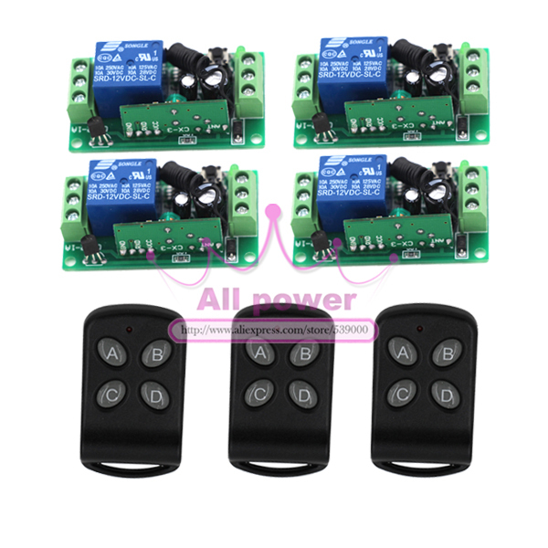 New 12V 1 Channel 3pcs Wireless Switch Remote Controllers 4pcs Control Switch Boards Fixed Code
