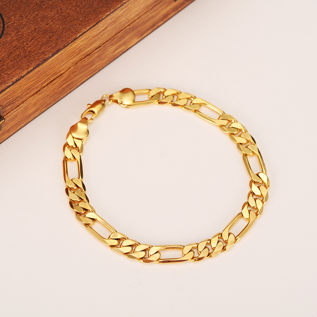 Pulsera de oro sólido amarillo de 24 K para hombre o mujer, collar de 21cm, cadena Figaro 3