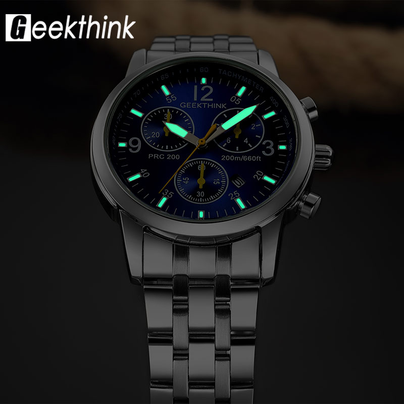 Luminous Quartz Wristwatch Classic Date Stainless Steel Male Clock