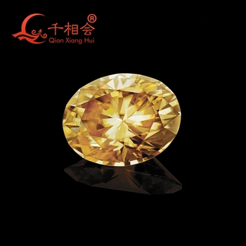 yellow color oval shape Sic material moissanite  loose stone by qianxianghui( video is light yellow)