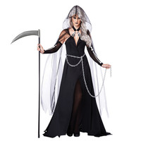 Plus size sexy Witch dress black queen Costume Halloween Ghost bride vampire Cosplay dress for women Club wear party costumes