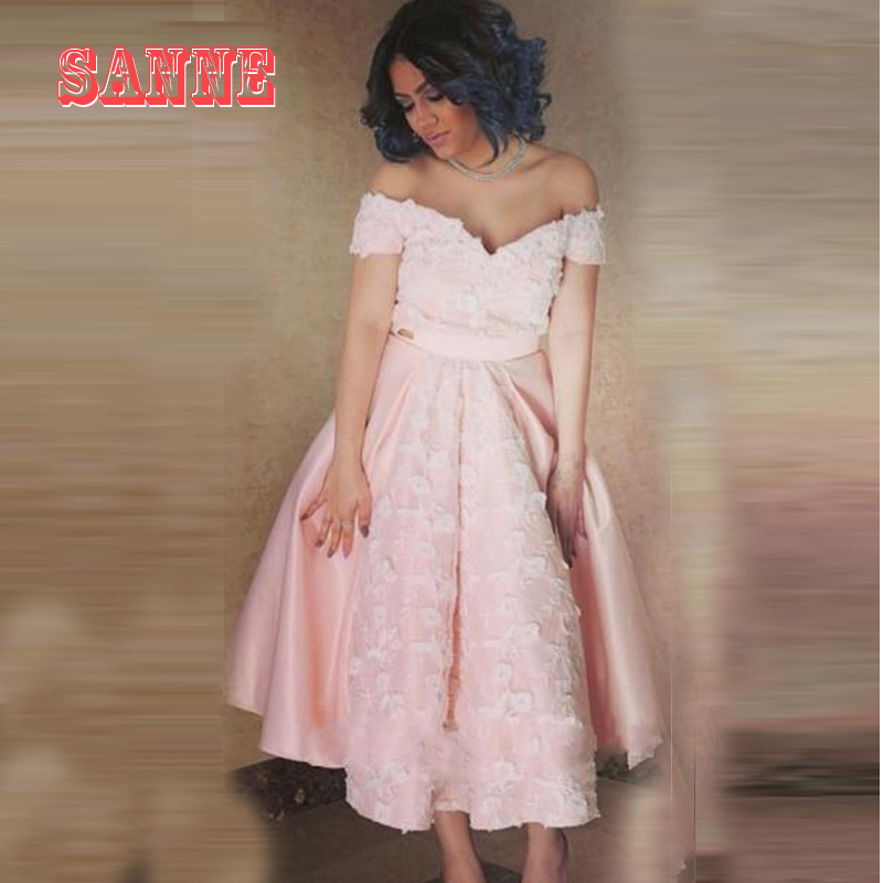 Pink and White Tea Length Prom Dress