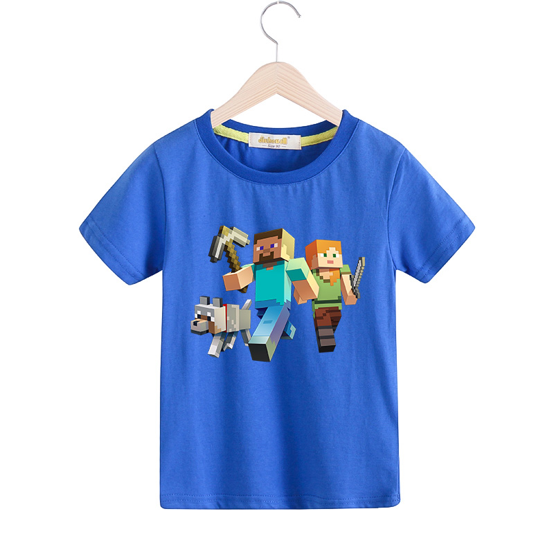 Children Short Sleeves T-shirts Boy Girls Summer 100%Cotton Cartoon Print Tee Tops Clothes Kids Game T Shirts Costume TX001 black lace details round neck short sleeves t shirts