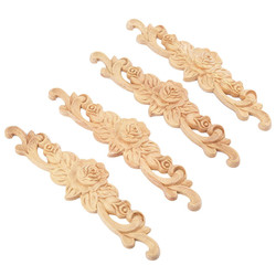 4pcs 20*5cm Rubber wood Carved Long Onlay Applique Unpainted Rose Flower Door Home Decor European Style
