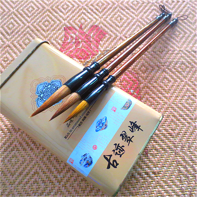 New Arrives Chinese Traditional Calligraphy Brush Set Large Middle Small Regular Script Calligraphy Writing Brush Pen