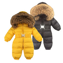 Russia Winter Baby Snowsuits bebes Jumpsuit hold -25 18M-4T Boy Girls Warm natural fur Down Jacket Kids Clothes Infantil Rompers 3 6t russia winter keeps warm snow kids girls clothes big fur hats down romper girls catsuit outdoor overalls for boy kids