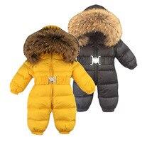 Russia Winter Baby Snowsuits kids Jumpsuit hold 25 18M 4T Boy Girls Warm natural fur Down Jacket Kids Clothes Infantil Rompers