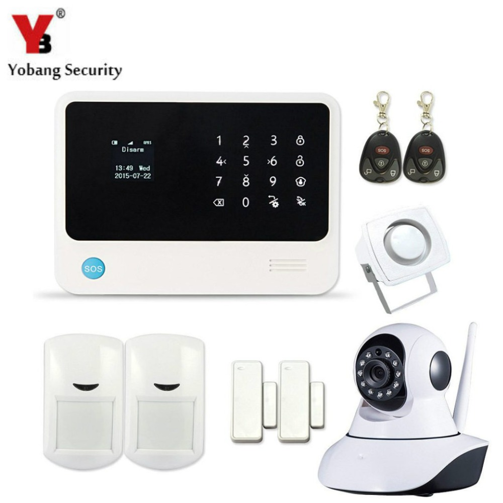 YobangSecurity 2016 WIFI GSM GPRS Home Security Alarm System with IP Camera APP Control Wired Siren PIR Door Alarm Sensor kerui w2 wifi gsm home burglar security alarm system ios android app control used with ip camera pir detector door sensor