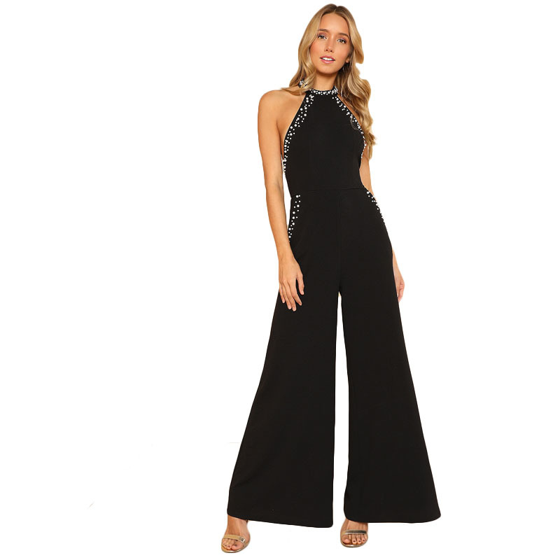 2018 Hot Femme Backless Halter Wide Leg Party Pearl Jumpsuit Black Red Sleeveless High Waist Plain Maxi Women Elegant Romper 428