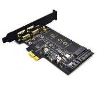 Double USB3.0 1 port type-c M.2 PCIe adaptateur M2 SSD SATA B clé à PCI-e 3.0 carte de convertisseur de contrôleur pour 2280 2260 2242 2230 NGFF