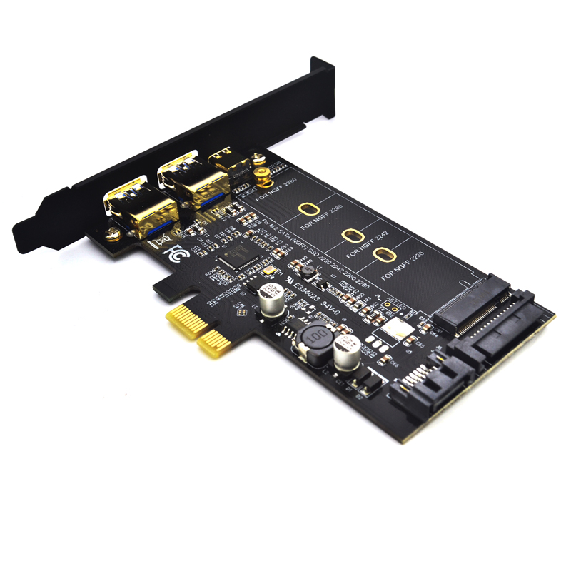 Dual USB3.0 1 port Type-c M.2 PCIe Adapter <font><b>M2</b></font> SSD <font><b>SATA</b></font> B Key <font><b>to</b></font> PCI-e 3.0 Controller Converter Card For <font><b>2280</b></font> 2260 2242 2230 NGFF image