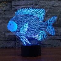 3D Fish Night Light Table Lamp Indoor Lighting Led Lamp Night Lighting DIM 7 Color Changing